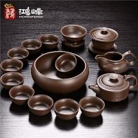 宜兴紫砂茶具套装礼盒陶瓷功夫茶杯家用盖碗复古茶壶紫泥原矿整套