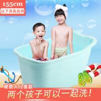 大儿童洗澡桶男女婴儿浴盆宝宝浴桶可坐躺小孩用品泡澡沐浴桶大号 超大号 蓝色 套餐三