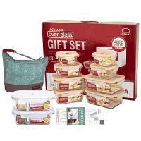 乐扣乐扣 格拉斯耐热玻璃保鲜盒8件套2个分隔LLG447S014SH605 LLG447S014SH605