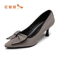 【红蜻蜓1件2折,领�宦�100再减20】红蜻蜓高跟鞋女真皮细跟漆皮浅口职业工作鞋尖头单鞋