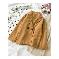 秋冬装新款女装韩版西装领慵懒风开衫毛呢外套纯色长袖上衣潮 卡其色 均码