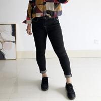 女士大码牛仔裤女2018新款秋款九分黑色显瘦卷边高腰九分裤子胖 黑色 每天出,到货发