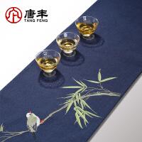 唐丰棉麻茶席家用刺绣茶垫中国风桌旗复古布垫功夫茶道配件饰品