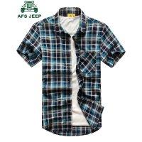 战地吉普AFS JEEP男士短袖衬衫 男式纯棉短袖格子衬衣 男装夏季薄款半袖衬衫