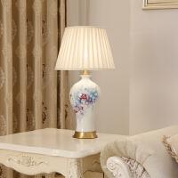 全铜陶瓷台灯中式客厅灯美式书房灯饰现代简约复古卧室灯 按钮开关