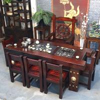 老船木茶桌椅�M合新中式全��木家具客�d��_��s茶�_茶�着莶枳雷� 整�b