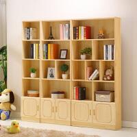 书柜实木带门简易自由组合成人书橱松木儿童置物架落地储物书架