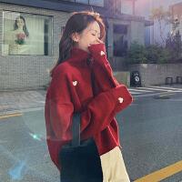 女士秋冬季外穿�W�t��松高�I毛衣上衣2020新款加厚�却畲虻揍��衫