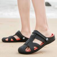 夏季新款男拖鞋轻便果冻洞洞鞋凉拖鞋舒适透气室外潮拖鞋