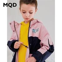 MQD童装女童连帽风衣洋气2019秋装新款儿童宽松撞色拼块外套韩版