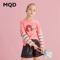 【2件3折券后价:78】MQD童装女童长袖假两件T恤2020秋装新款儿童网纱拼接韩版洋气上衣