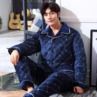 男士睡衣冬季珊瑚绒加厚加绒三层夹棉睡衣男法兰绒保暖家居服套装