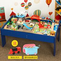 【益智玩具】儿童木质小火车电动轨道套装游戏桌玩具 兼容托马斯火车BRIO 圆形电梯轨道桌 送电动车 官方标配
