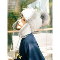 帽子女冬季毛线针织雷锋帽韩版骑车防风冬天保暖加厚加绒户外滑雪