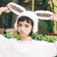 韩国可爱兔耳朵加厚毛线帽子青少年女韩版冬天针织帽潮护耳东北帽
