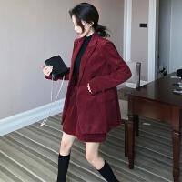 新款女装复古灯芯绒气质西装外套+高腰半身短裙+休闲直筒裤套装潮