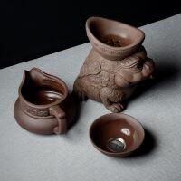 创意茶具配件 紫砂茶漏茶滤蟾滤茶器 陶瓷泡茶过滤器 招财蟾茶宠 蟾茶托 紫泥