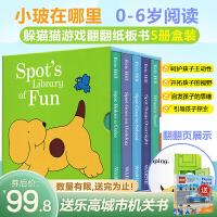 现货 英文原版 Spot's Library of Fun 小玻系列翻翻书 5本盒装套装 Eric Hill Where's is Spot? 3-6岁低幼儿童英语绘本图画书