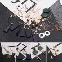 极简几何耳钉diy手工制作首饰制作材料包珍珠耳环耳夹耳饰品配件