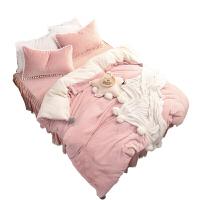 is韩国兔兔绒四件套公主床裙天鹅绒粉色纯色北欧床上用品定制