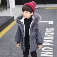 男童棉衣外套新款宝宝儿童冬棉袄小童加绒加厚保暖中长款 灰色收腰款棉衣 90