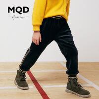 MQD童装女童加绒加厚运动裤冬装新款双面长裤条纹保暖束脚女裤潮