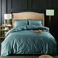 四件套全棉纯棉1.8m床纯色贡缎床笠式被套床单婚庆大红色床上用品定制