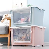 大号塑料收纳箱侧开门透明可视衣服被子储物箱带轮整理盒子
