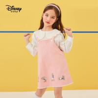 【春新品4折�A估�r:87元】迪士尼女童背��裙2021春�b新款洋�馔��b�r尚裙子�和�����牛仔�