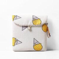卫生巾收纳包装姨妈巾的小袋子生理期卫生棉可爱随身便携包月事包 黄色冰淇淋 13*13cm