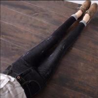 20190228142307732新款高腰牛仔裤女韩版紧身显瘦九分裤高弹力黑色小脚裤长裤子