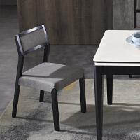 北欧实木椅子现代简约灰色布艺可拆洗餐椅家用黑色餐桌椅组合凳子 灰色 2张起拍