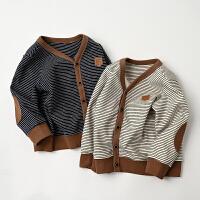 儿童纯棉开衫男童女童V领条纹上衣外套 秋季 童装