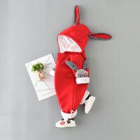 婴儿爬服婴儿卫衣连体衣春秋装3-6-12个月新生儿长袖爬服连帽男女宝满月服XM-5