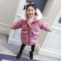 女童棉服洋气冬装2018新款韩版棉袄加厚中长款外套灯芯绒儿童棉衣