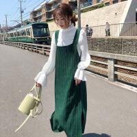 秋装女新款女装吊带裙子韩版针织连衣裙中长款冬季背带裙