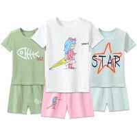 男童女孩宝宝童装家居服夏季儿童睡衣印花棉短袖中大童内衣套装
