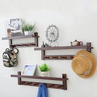 中式创意墙上挂钩实木挂衣架墙壁卧室客厅衣帽架壁挂 衣架置物架
