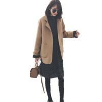 大码女装秋冬新款微胖洋气套装减龄遮肉毛呢外套连衣裙两件套 驼色毛呢外套+连衣裙