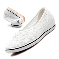 夏款女式网鞋白色透气护士鞋坡跟小白鞋工作鞋美容院鞋高跟女鞋
