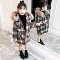 女童大衣女童呢子大衣2018新款中大儿童韩版洋气羊角扣毛呢外套时髦潮冬装ZQ74蓝 棕色