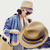 夏天小礼帽女士季太阳遮阳防晒沙滩海边度假英伦爵士草帽子