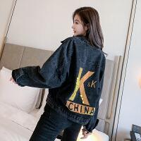 2020韩版闪亮字母黑色牛仔外套女短款宽松小个子工装夹克6998