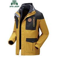 战地吉普AFS JEEP男士防水透气冲锋衣 三合一秋冬登山服两件套夹克 可脱卸抓绒内胆外套