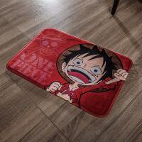 【优选】卡通脚垫门垫进门地垫海贼王家用浴室吸水厨房卫生间卧室地毯防滑 红色 小飞哥 45*65厘米