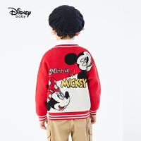 【今日4折�A估�r:93.9元】迪士尼女童男童�t色毛衣2021春�b新款洋�獍菽攴��和�����童�b毛衫