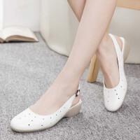 白色护士鞋夏季女新款凉鞋韩版镂空平底坡跟舒适软底