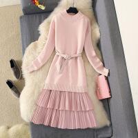连衣裙两件套装2018新款秋冬甜美显瘦毛衣裙针织中长裙百褶吊带裙 粉色 均码