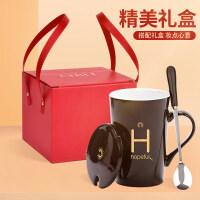 创意马克杯带盖勺家用陶瓷杯子大容量水杯个性潮流男女情侣咖啡杯