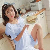 孕妇睡衣夏季韩版花边大码外穿家居服淑女透气产后哺乳月子服ZT-08